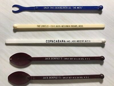 5 PC LOT Vintage METS, Dempsey's ,COPACABAN NYC Stir Sticks