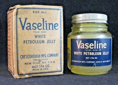 Vintage 1¾ ounce Vaseline jar with product & box