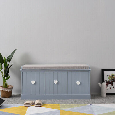 Vintage Wooden Storage Unit Bench Seat Shabby Chic Drawers Cushion