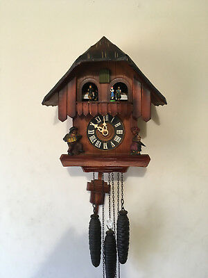 Rare Vintage 'Mitzkat'  Musical/Dancers Mechanical Black Forest Cuckoo clock