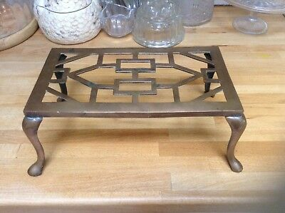 Antique Bronze Fireside Trivet Stand Kettle Pan Holder Vintage Old Geometric