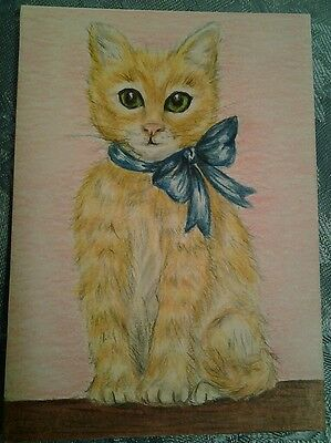 """WENDY SCOPA ORIGINAL COLORED PENCIL ACEO-Signed-Kitten,Cat.Kitty.Cute 2.5""""x 3.5"""""""