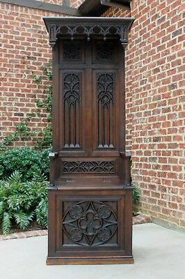 Antique French Carved Oak GOTHIC Hall Seat Bench Throne Chair Canopy TALL 19th C
