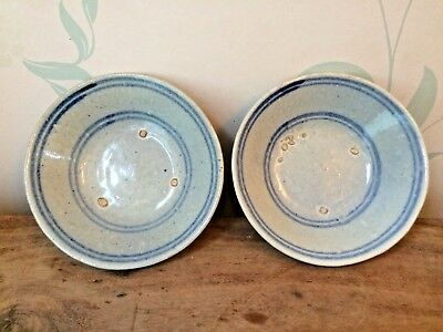 Pair antique ceramic pottery Asian Korean Japanese Chinese blue hand painted