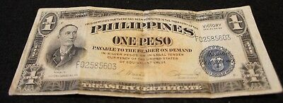 1944 Series No.66 Philippines 1 Peso VICTORY Note in VG Condition Nice Note!