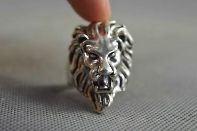 Collection Handwork Old Miao Silver Carve Ferocity Lion Head Ancient Tibet Ring
