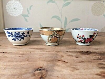 3 x Chinese porcelain tea bowl 18th 19thC Kangxi bowls vase armorial famile rose