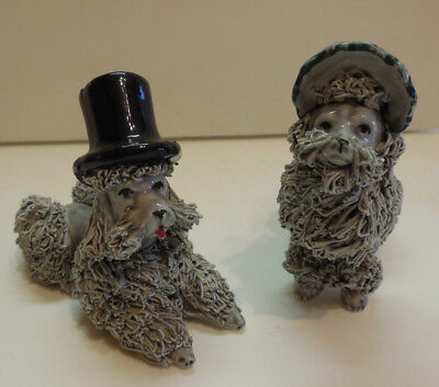 Vintage Spaghetti Poodles With Black Top Hat and Bonnet Anthropomorphic