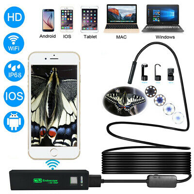 8mm WiFi 1200P Waterproof  Endoscope Inspection Video Camera For iPhone Android