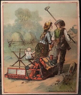 Minneapolis Harvester Works Baby Sits On Harvester Pulled By Parents Trade Card