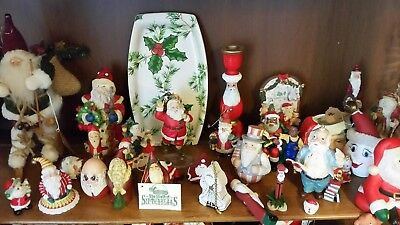 Lot 30 Santa clause Ceramic, Resin assorted Collection Figurines Christmas
