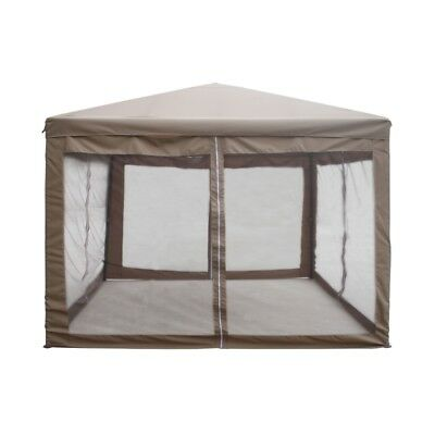 ALEKO 10x10 Ft Fully Enclosed Garden Gazebo Canopy with Mesh Insect Screen Brown