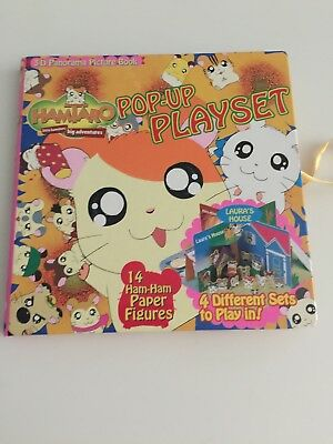 RARE Hamtaro Pop-Up Playset Book 3-D Panorama Picture Book Laura's House