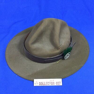 Boy Scout Campaign Hat With Green Scoutmaster Hat Plume