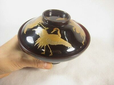 Antique Japanese 120 Year Old Gold Makie Red & Black Lacquer Lidded Bowl Cranes