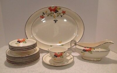 """RARE VINTAGE 15 PC HOMER LAUGHLIN CLEMATIS AKA """"RED BEAUTY"""" DINNERWARE 1940's !"""