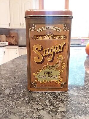 1977 Vintage Crystal Cane Refined Brown Sugar Cheinco Tin Canister