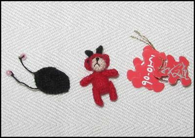 "OOAK 3/4"" Tiny Handmade Miniature Crocheted Red TEDDY BEAR ""Telyn"" MINT w/Tags"