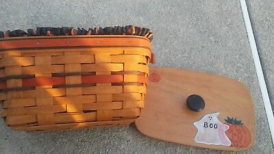 1994 Longaberger BOO Basket with hand painted lid, Liner and Plastic Protector