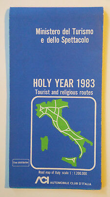 Vintage, Road Map of Italy, Holy Year 1983