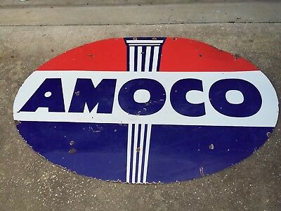 """Large Amoco Gas Oil Sign Double Sided Porcelain Original Station 71.5"""" X 47.5"""""""