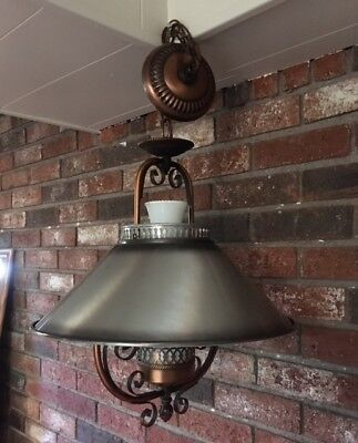 Vtg Farmhouse Tin Metal Shade Milk Glass Hanging Light Fixture Geringer 1970's