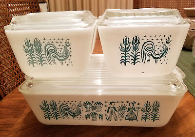 Vintage PYREX Amish Butterprint Refrigerator Dishes 8 Piece Set Turquoise/ White