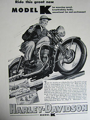"Vintage 1940'S Harley-Davidson Cycle ""NEW MODEL K THRILL PACKED RIDE"" Ad Sign"