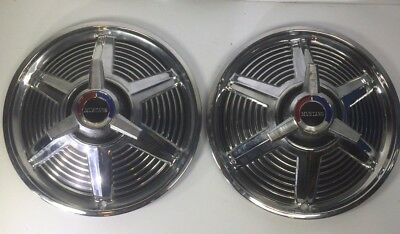 Pair of 1965-1966 Mustang Spinner Hubcaps Wheel Covers 14 Inch Chrome
