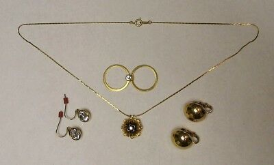 VINTAGE TRIFARI jewelry lot of 2 pair EARRINGs ring & necklace 6 pc