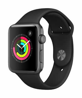 Apple Watch Gen 3 Series 3 42mm Space Gray Aluminum - Black Sport Band MTF32LL/A