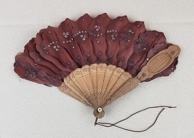 Vintage Hand Fan Wood Brown Fabric Sequins
