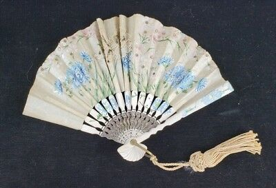 Vintage Small Paper Lace Handpainted Flowers Floral Hand Fan