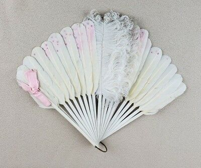 Vintage Off White Feathers Pink Accents Hand Fan