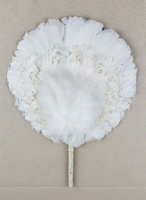 Antique/Off White Feather Hand Fan