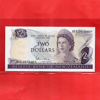 NZ Star Note - Scare- 1977 - 81 H.R.Hardie Unc $2 Banknote serial 9Y3 097 848*
