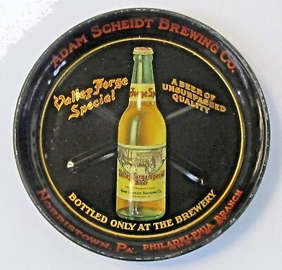 vintage Adam Scheidt VALLEY FORGE SPECIAL Beer tin litho tip tray ashtray