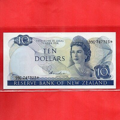 NZ Star Note - Scare- 1977 - 81 H.R.Hardie Unc $10 Banknote serial 99C 747 323*