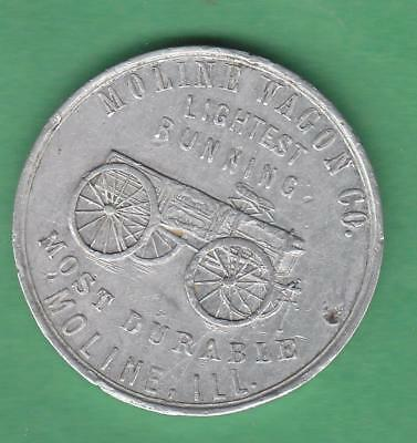 MolineIL. Moline Wagon Co Advertising Token Most Durable Wagon- John Deere