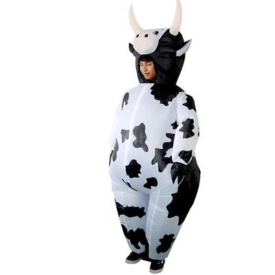 Adults Cow Inflatable Costume Blow Up Xmas Halloween Fancy Dress Outfit J3F5