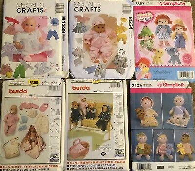 Lot of 6 Doll Clothes Patterns FF Raggedy Ann / Baby