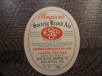 SIMPSON's SOCIETY BRAND ALE BEER LABEL 8oz I R T P BURLINGTON BREWING CO * WIS