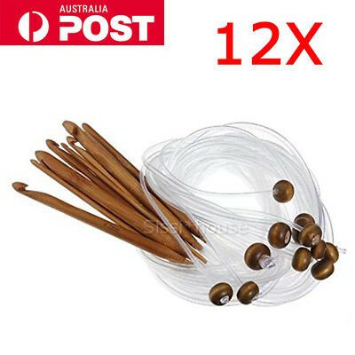 NEW 12X Bamboo Tunisian Crochet Hooks Set Kit - 12 sizes 3.0mm to 10.0mm GIFT AU