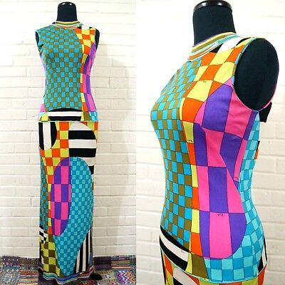 VTG 60s Mod Emilio Pucci Silk Maxi Dress XS Italy Psychedelic Vibrant Colors