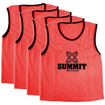 4PK Summit Extra Large Sport/Soccer/Rugby Training Mesh Bibs/T-Shirt Vest Red