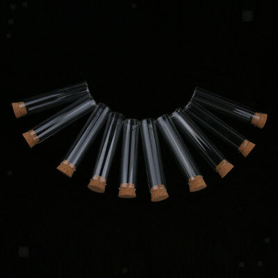 10PCS Glass Flat Bottom Test Tubes with Cork Airlock Stopper for Spice Rack