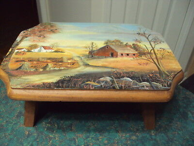 """Hand Painted Wood Foot Stool Country Fall Scenery Signed By Anne 12"""" x 9"""""""