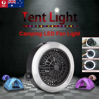 Multi-Function Portable Outdoor Camping LED Fan Light Hanging Tent Lamp AU