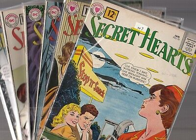 DC Romance lot, Secret Hearts #'s 76,77,79,80,81,82 all VG or better