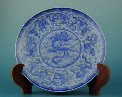 Chinese antique hand-made Blue and White porcelain dragon pattern plate b02